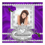 Quinceanera 15th Birthday Purple Rose White Personalised Announcement