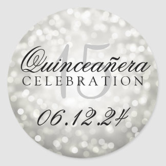 Quinceanera 15th Birthday Silver Bokeh Lights Round Sticker