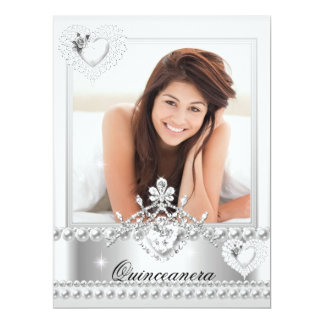 Quinceanera 15th Birthday Silver White Hearts 17 Cm X 22 Cm Invitation Card
