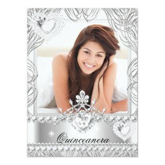 Quinceanera 15th Birthday Silver White Hearts 2 17 Cm X 22 Cm Invitation Card