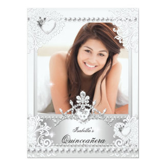 Quinceanera 15th Birthday Silver White Hearts 3 17 Cm X 22 Cm Invitation Card