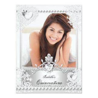 """Quinceanera 15th Birthday Silver White Hearts 3 6.5"""" X 8.75"""" Invitation Card"""