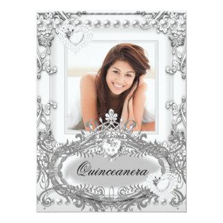 """Quinceanera 15th Birthday Silver White 6.5"""" X 8.75"""" Invitation Card"""