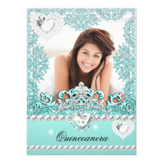 Quinceanera 15th Birthday Teal Blue Silver White 17 Cm X 22 Cm Invitation Card