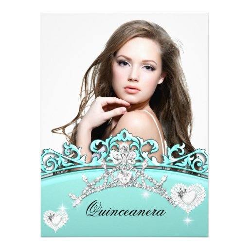 Quinceanera 15th Birthday Teal Blue Silver White Personalized Invites