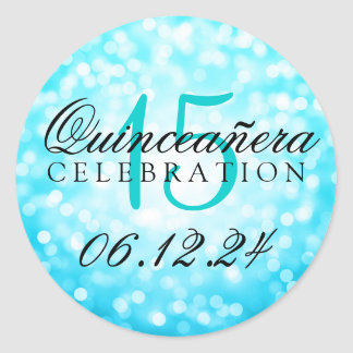 Quinceanera 15th Birthday Turquoise Bokeh Lights Classic Round Sticker