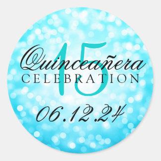 Quinceanera 15th Birthday Turquoise Bokeh Lights Round Sticker