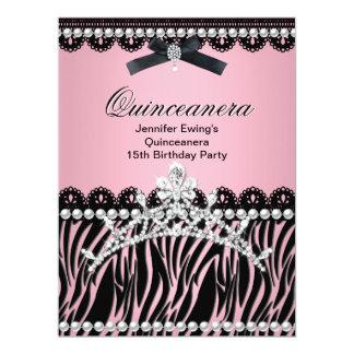Quinceanera 15th Black Pink Zebra Tiara 17 Cm X 22 Cm Invitation Card