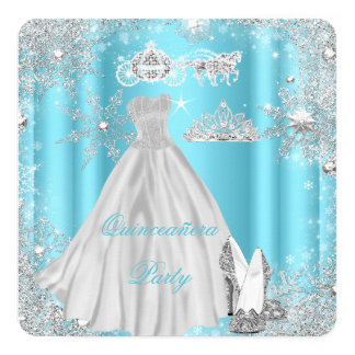 Quinceanera 15th Cinderella Blue Birthday Party 13 Cm X 13 Cm Square Invitation Card