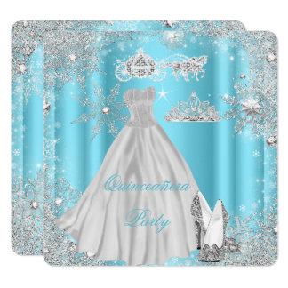 Quinceanera 15th Cinderella Blue Birthday Party Card