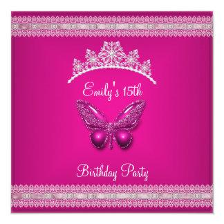 Quinceanera 15th Fushia Pink Tiara Butterfly 13 Cm X 13 Cm Square Invitation Card