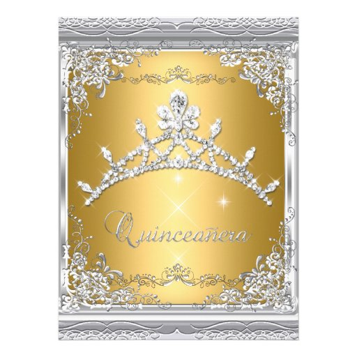 Quinceanera 15th Gold White Silver Tiara Announcements