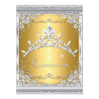 "Quinceanera 15th Gold White Silver Tiara 6.5"" X 8.75"" Invitation Card"