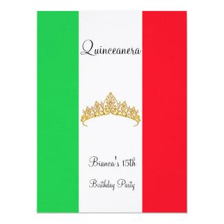 Quinceanera 15th Mexico Gold Tiara 6.5x8.75 Paper Invitation Card