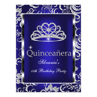 Quinceanera 15th Party Dark Blue Damask Silver 17 Cm X 22 Cm Invitation Card