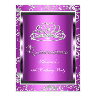 """Quinceanera 15th Party Purple Pink Damask Silver 6.5"""" X 8.75"""" Invitation Card"""