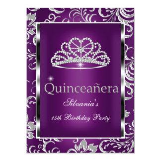 Quinceanera 15th Party Purple Plum Damask Silver 17 Cm X 22 Cm Invitation Card