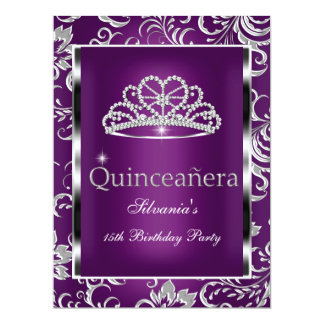 """Quinceanera 15th Party Purple Plum Damask Silver 6.5"""" X 8.75"""" Invitation Card"""