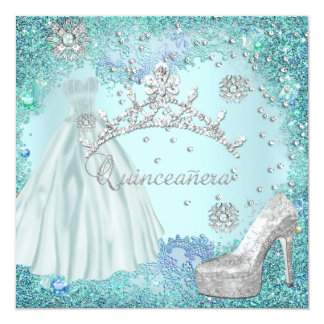 Quinceanera 15th Party Soft Teal Tiara Dress Shoe Card