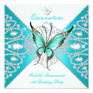 Quinceanera 15th Party Teal Blue Butterfly Tiara Card