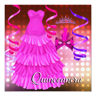 Quinceanera 15th Party Tiara Pink Dress Lights 13 Cm X 13 Cm Square Invitation Card