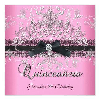 Quinceanera 15th Pink Glitter Tiara Black Bow 13 Cm X 13 Cm Square Invitation Card