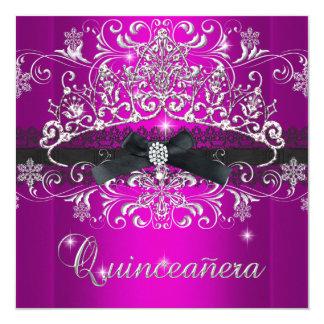 Quinceanera 15th Pink Purple Glitter Tiara Black 13 Cm X 13 Cm Square Invitation Card