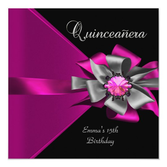 Quinceanera 15th Pink Silver Black Grey Bow 3 Card
