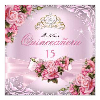 Quinceanera 15th Pretty Pink Roses Tiara Birthday 13 Cm X 13 Cm Square Invitation Card