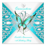 Quinceanera 15th Pretty Teal Blue Butterfly Tiara 13 Cm X 13 Cm Square Invitation Card