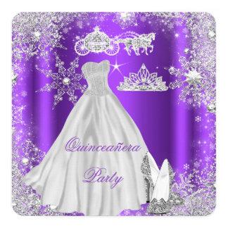 Quinceanera 15th Purple Birthday Party 13 Cm X 13 Cm Square Invitation Card