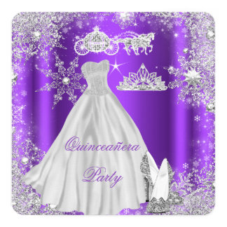 Quinceanera 15th Purple Birthday Party Card