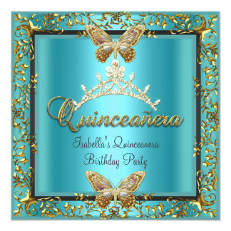 Quinceañera 15th Teal Blue Gold Butterfly Card