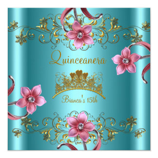 Quinceanera 15th Teal Blue Pink Flowers Gold Tiara Card