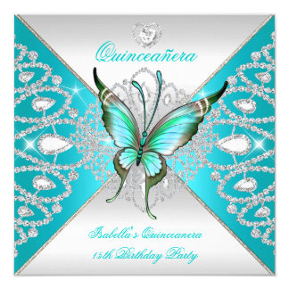 Quinceanera 15th Teal Blue Silver Butterfly Tiara Card