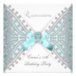 Quinceanera 15th Teal Blue Silver White Diamond Personalised Invites