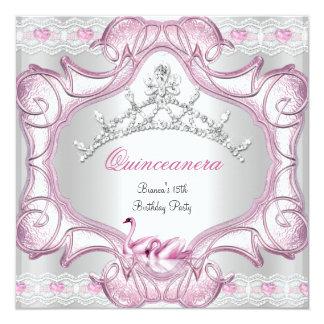 Quinceanera 15th White Pink Swans Tiara 13 Cm X 13 Cm Square Invitation Card