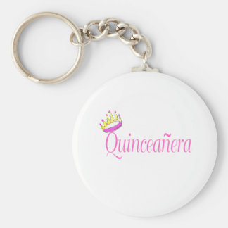 Quinceanera Basic Round Button Key Ring