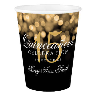 Quinceanera Birthday Party Gold Lights Paper Cup