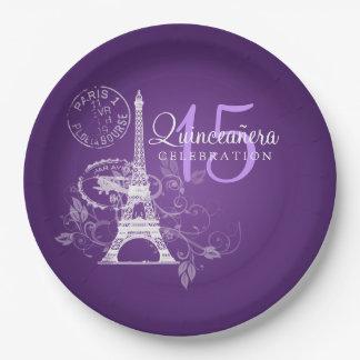 Quinceanera Birthday Party Paris Purple Paper Plate