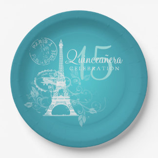 Quinceanera Birthday Party Paris Turquoise Paper Plate