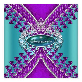 Quinceanera Birthday Party Purple Teal Blue 13 Cm X 13 Cm Square Invitation Card