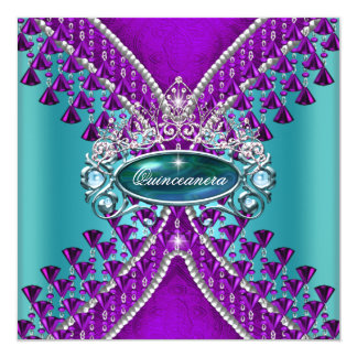 Quinceanera Birthday Party Purple Teal Blue Card