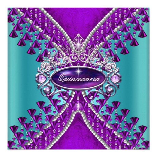 Quinceanera Birthday Party Purple Teal Blue Personalized Invite