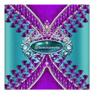 Quinceanera Birthday Party Purple Teal Blue Personalized Invitation