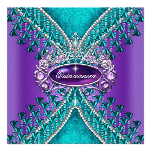 Quinceanera Birthday Party Purple Teal Blue Custom Announcement