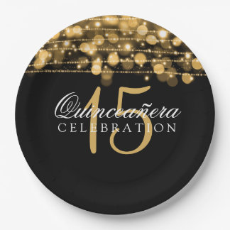 Quinceanera Birthday Party Sparkles Gold 9 Inch Paper Plate