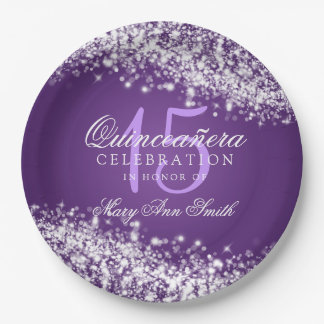 Quinceanera Birthday Party Sparkling Wave Purple 9 Inch Paper Plate