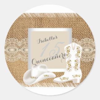 Quinceanera Burlap Lace Cowgirl Classic Round Sticker