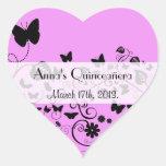 Quinceanera - Butterflies, Insects - Pink Black Heart Sticker